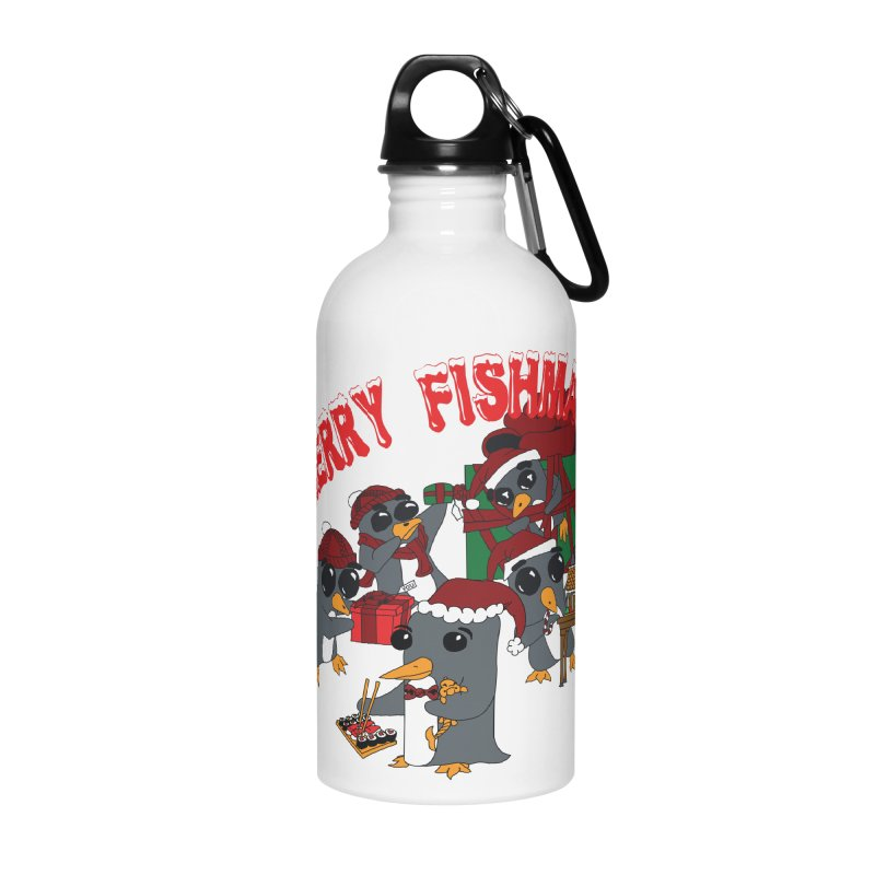 Penguins Fishmas Accessories Water Bottle by bluetea1400's Artist Shop