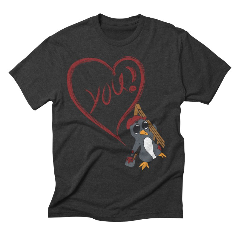 Penguin Painting Heart Men's T-Shirt by bluetea1400's Artist Shop