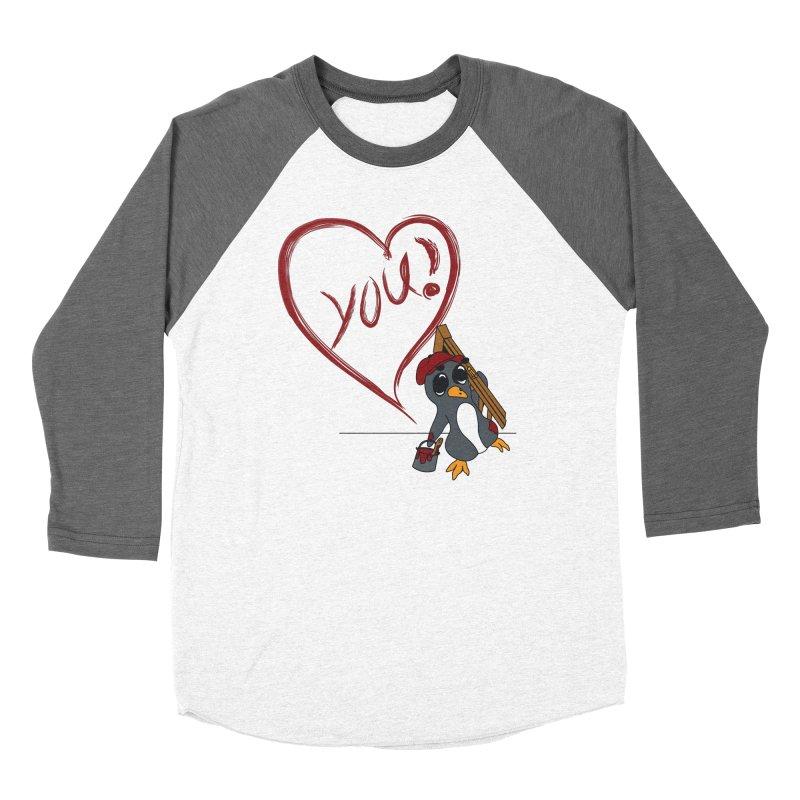 Penguin Painting Heart Women's Longsleeve T-Shirt by bluetea1400's Artist Shop