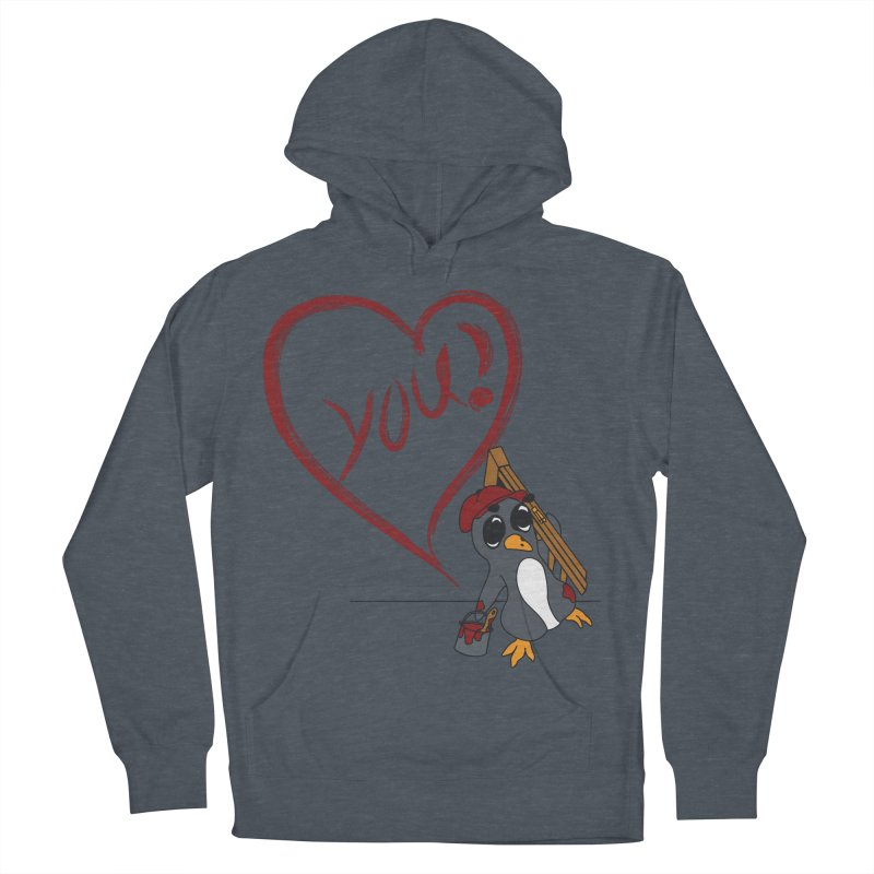 Penguin Painting Heart Women's French Terry Pullover Hoody by bluetea1400's Artist Shop