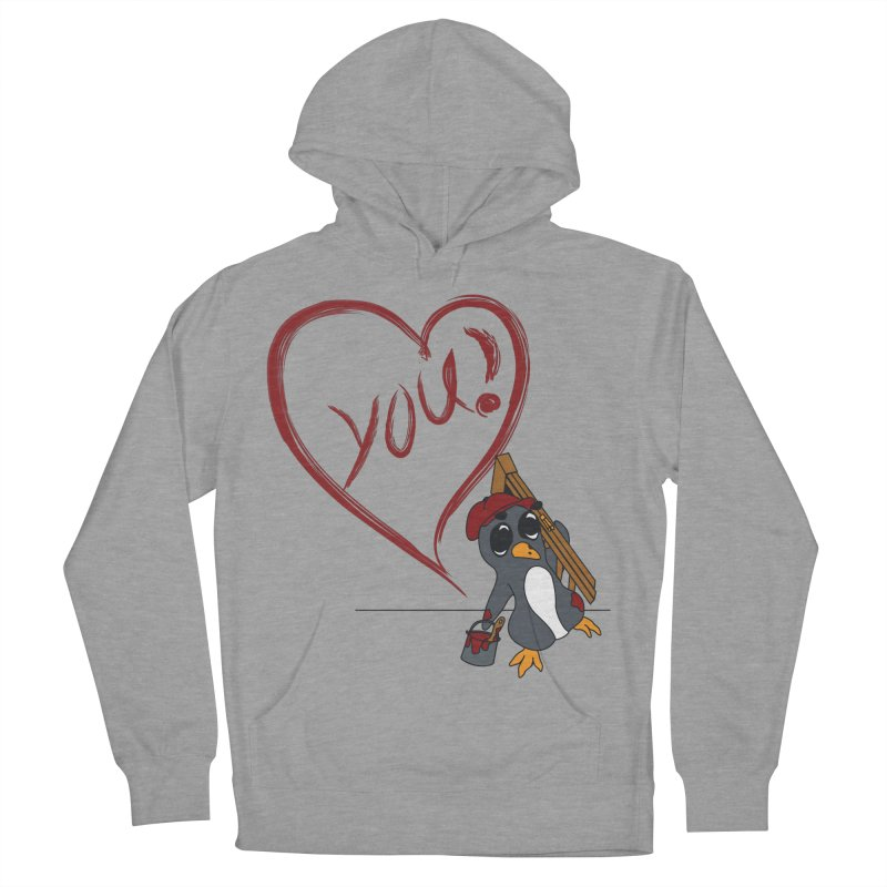 Penguin Painting Heart Men's French Terry Pullover Hoody by bluetea1400's Artist Shop