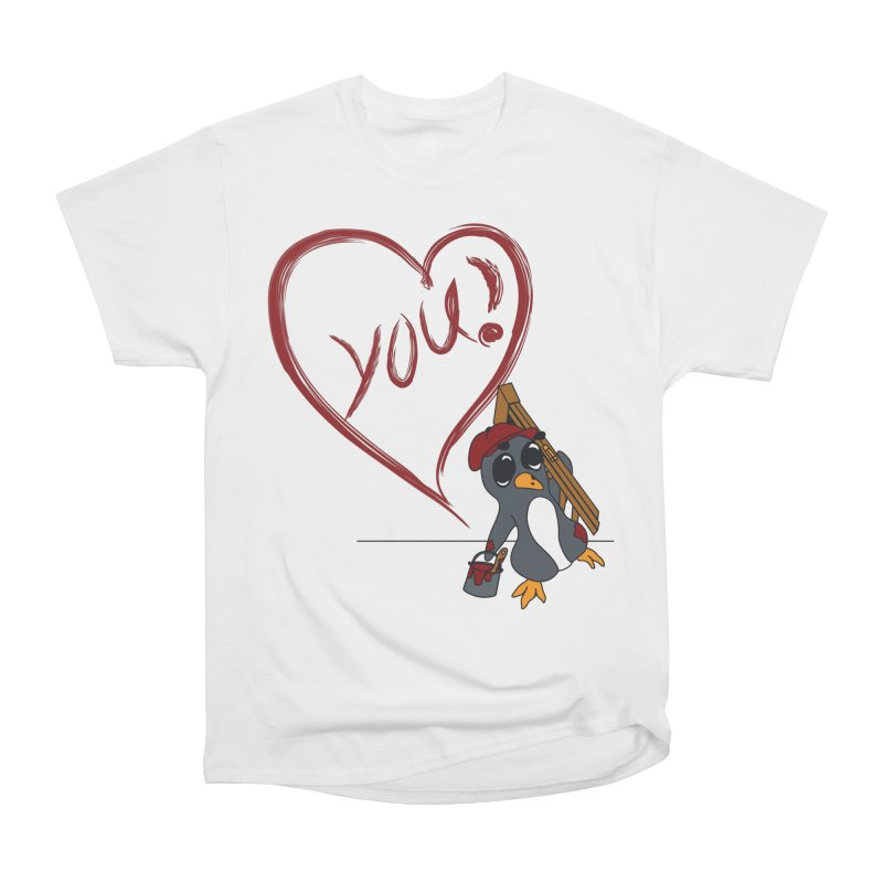 Penguin Painting Heart Women's Heavyweight Unisex T-Shirt by bluetea1400's Artist Shop