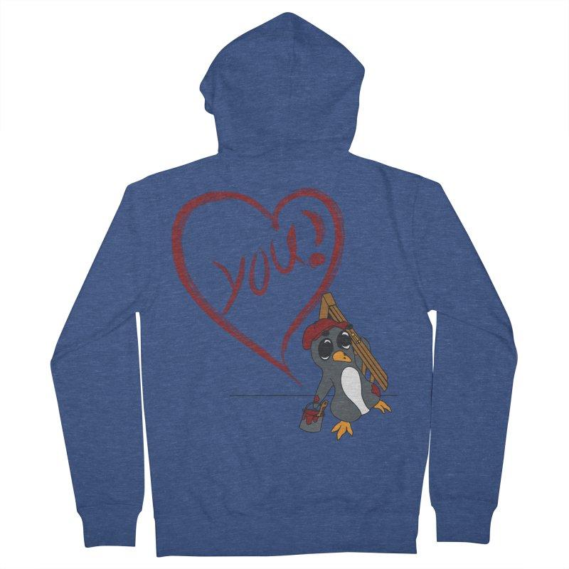 Penguin Painting Heart Women's French Terry Zip-Up Hoody by bluetea1400's Artist Shop