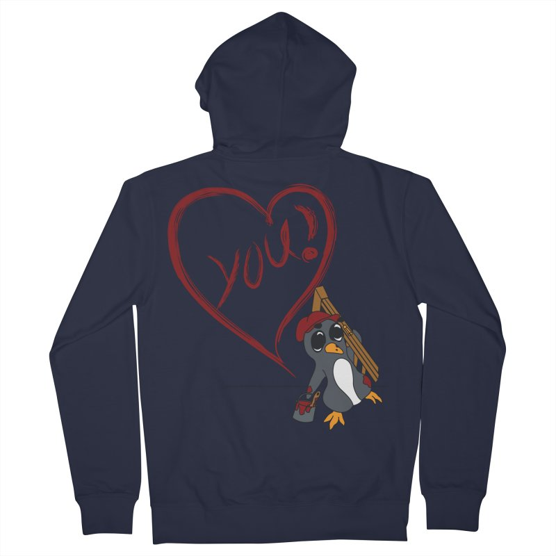 Penguin Painting Heart Women's Zip-Up Hoody by bluetea1400's Artist Shop