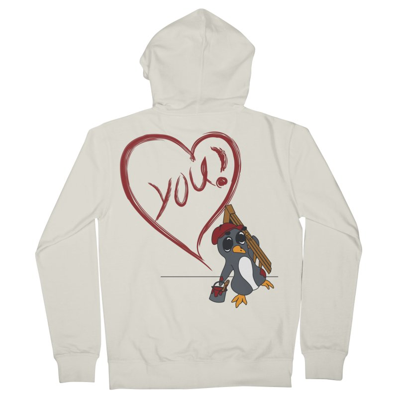 Penguin Painting Heart Men's French Terry Zip-Up Hoody by bluetea1400's Artist Shop
