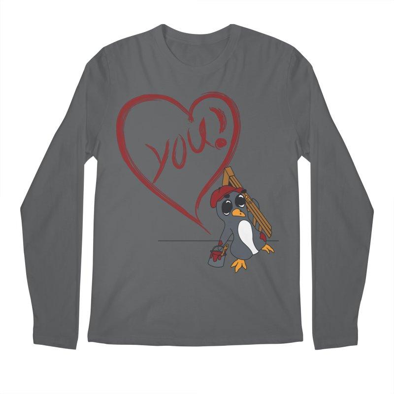 Penguin Painting Heart Men's Regular Longsleeve T-Shirt by bluetea1400's Artist Shop