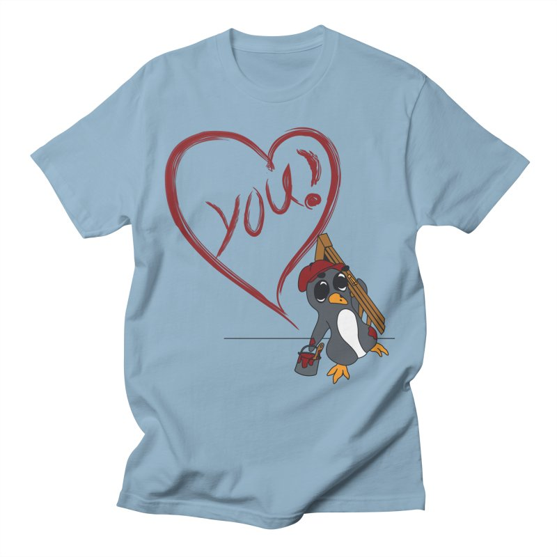 Penguin Painting Heart Women's Regular Unisex T-Shirt by bluetea1400's Artist Shop