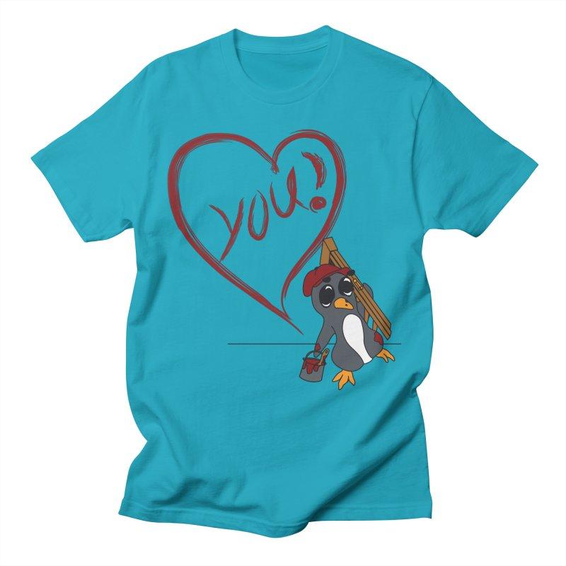 Penguin Painting Heart Men's Regular T-Shirt by bluetea1400's Artist Shop