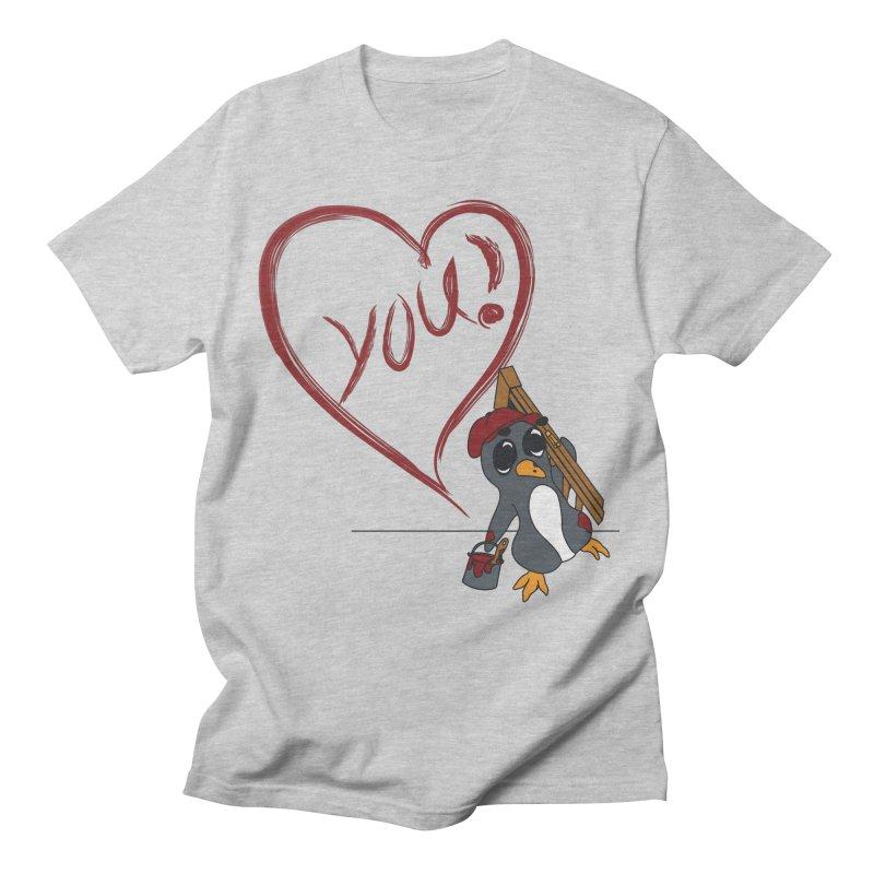 Penguin Painting Heart Women's Regular Unisex T-Shirt by bluetea1400's Artist Shop