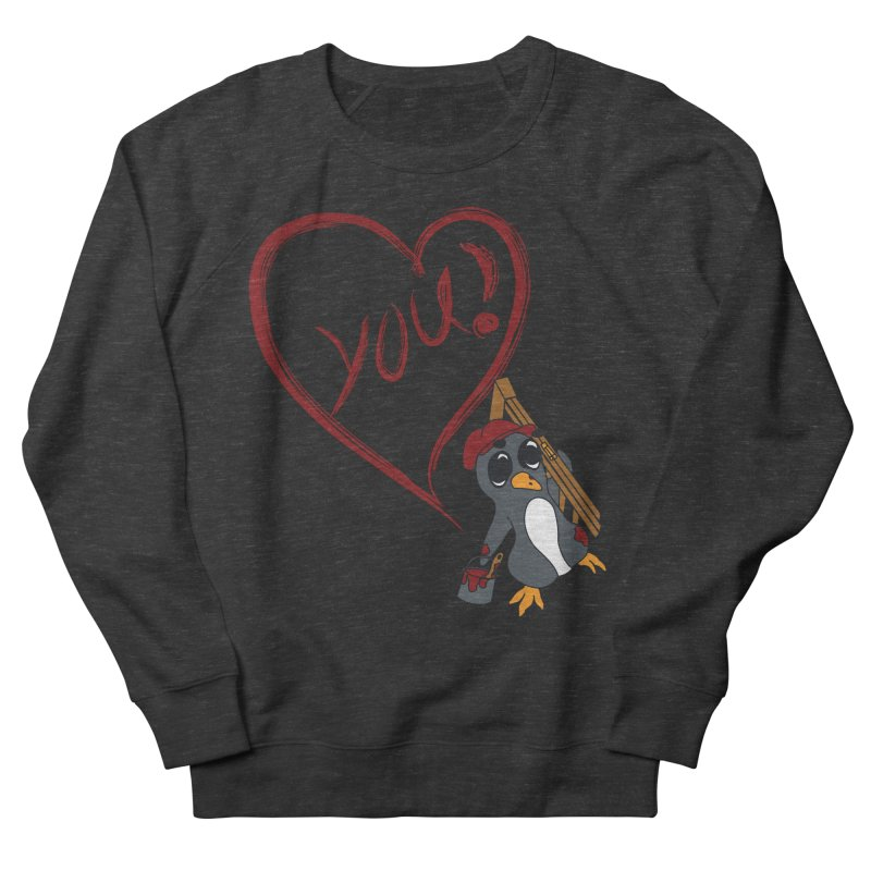 Penguin Painting Heart Women's French Terry Sweatshirt by bluetea1400's Artist Shop