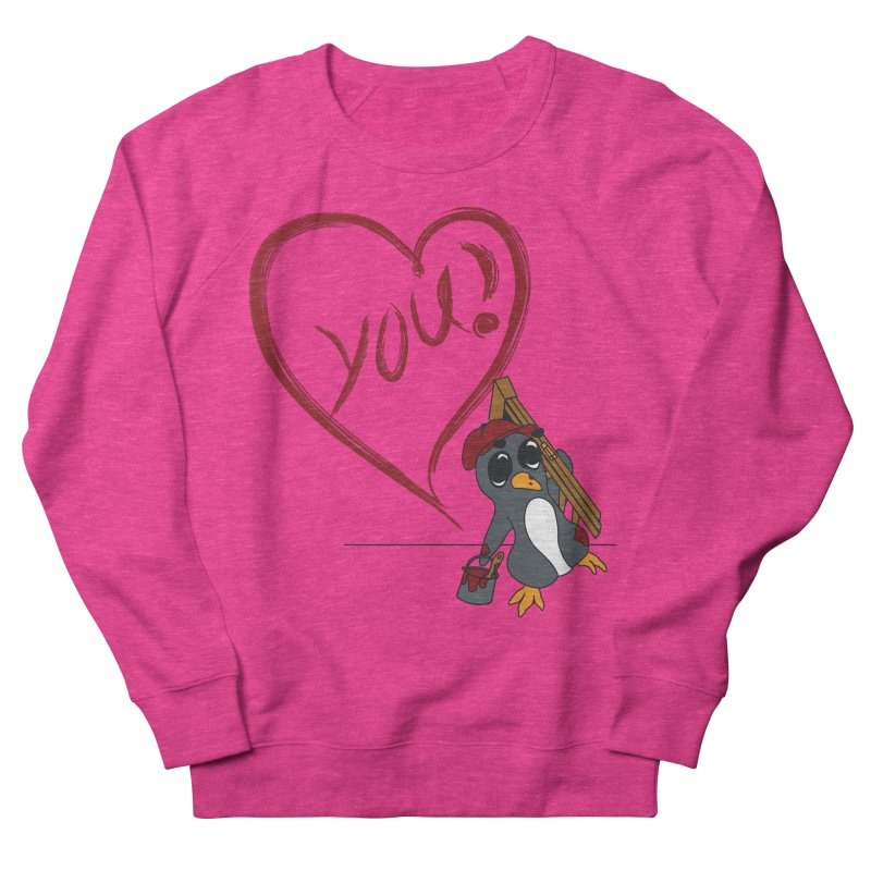 Penguin Painting Heart Men's French Terry Sweatshirt by bluetea1400's Artist Shop