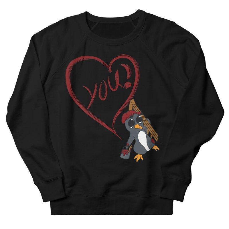 Penguin Painting Heart Men's French Terry Sweatshirt by bluetea1400's Artist Shop