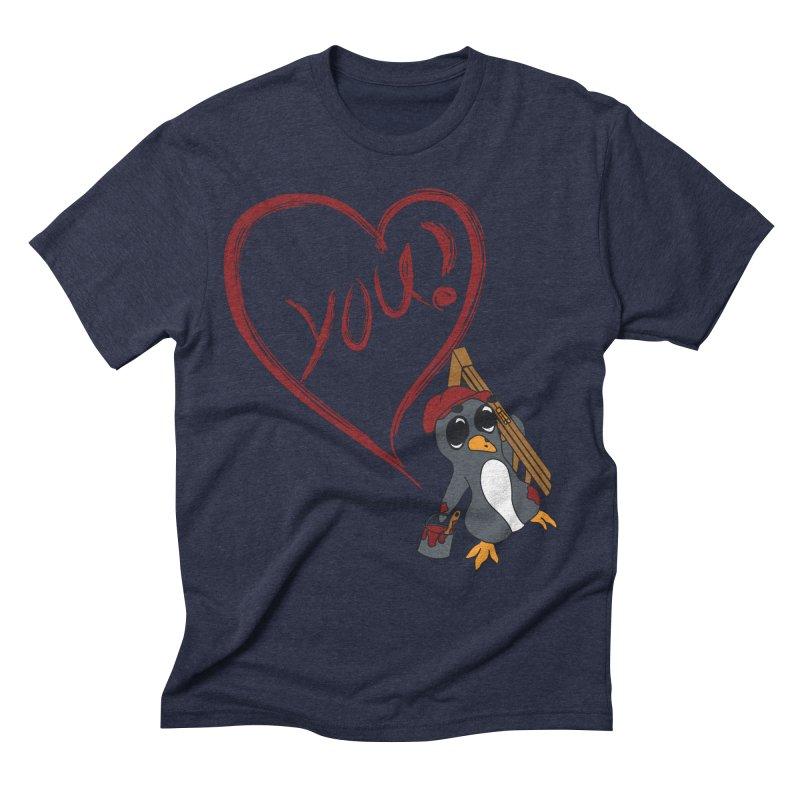 Penguin Painting Heart Men's Triblend T-Shirt by bluetea1400's Artist Shop