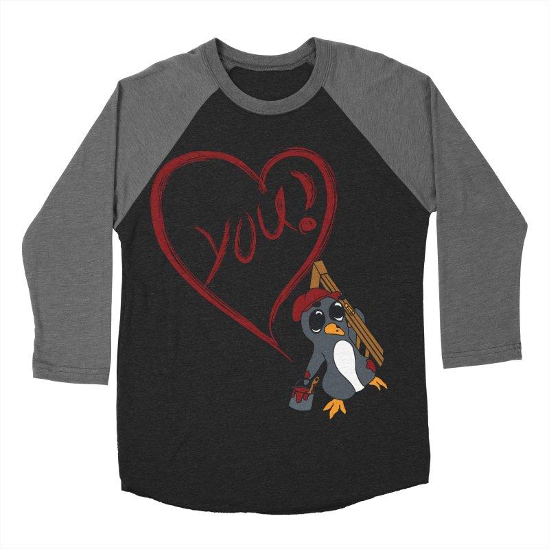 Penguin Painting Heart Men's Baseball Triblend Longsleeve T-Shirt by bluetea1400's Artist Shop