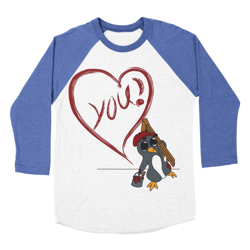 Penguin Painting Heart Men's Baseball Triblend Longsleeve T-Shirt by bluetea1400's Artist Shop