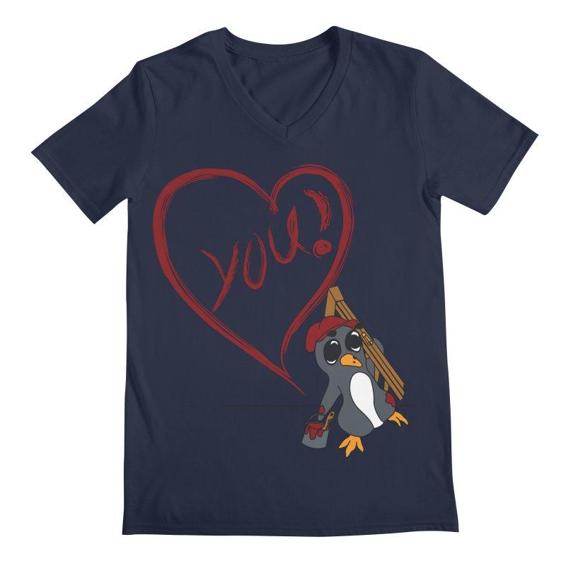 Penguin Painting Heart Men's Regular V-Neck by bluetea1400's Artist Shop