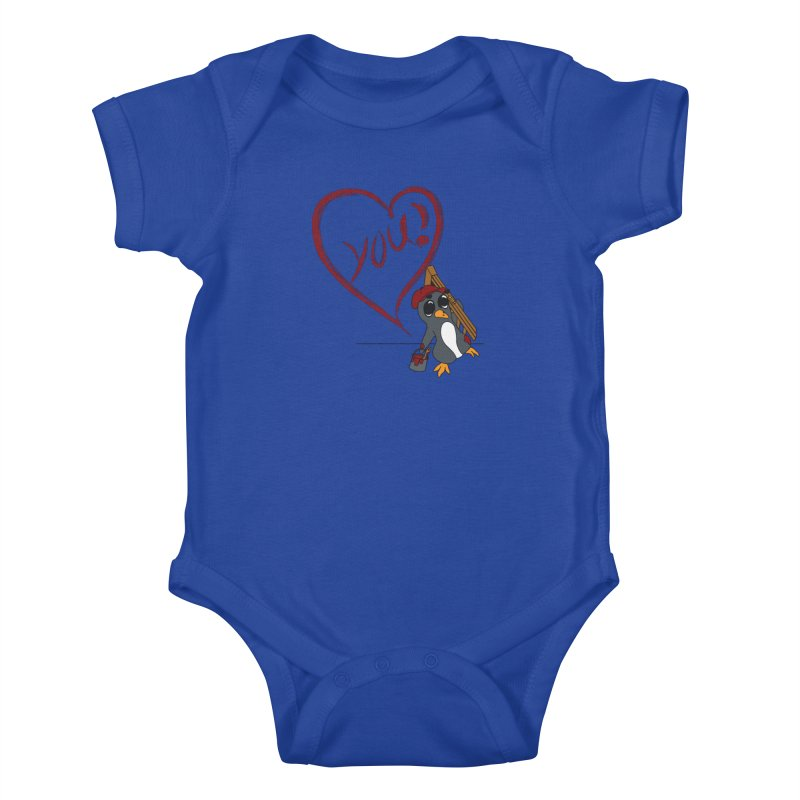 Penguin Painting Heart Kids Baby Bodysuit by bluetea1400's Artist Shop