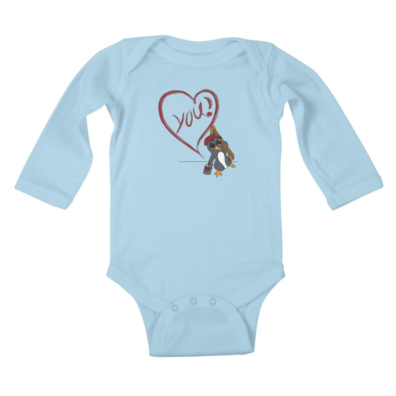Penguin Painting Heart Kids Baby Longsleeve Bodysuit by bluetea1400's Artist Shop