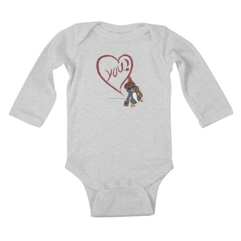 Penguin Painting Heart Kids Baby Longsleeve Bodysuit by bluetea1400's Artist Shop