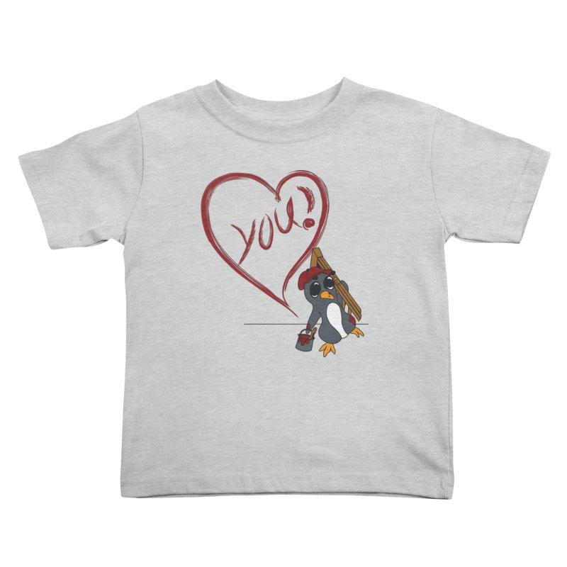 Penguin Painting Heart Kids Toddler T-Shirt by bluetea1400's Artist Shop