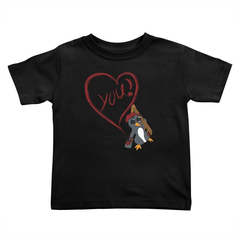 Penguin Painting Heart Kids Toddler T-Shirt by bluetea1400's Artist Shop