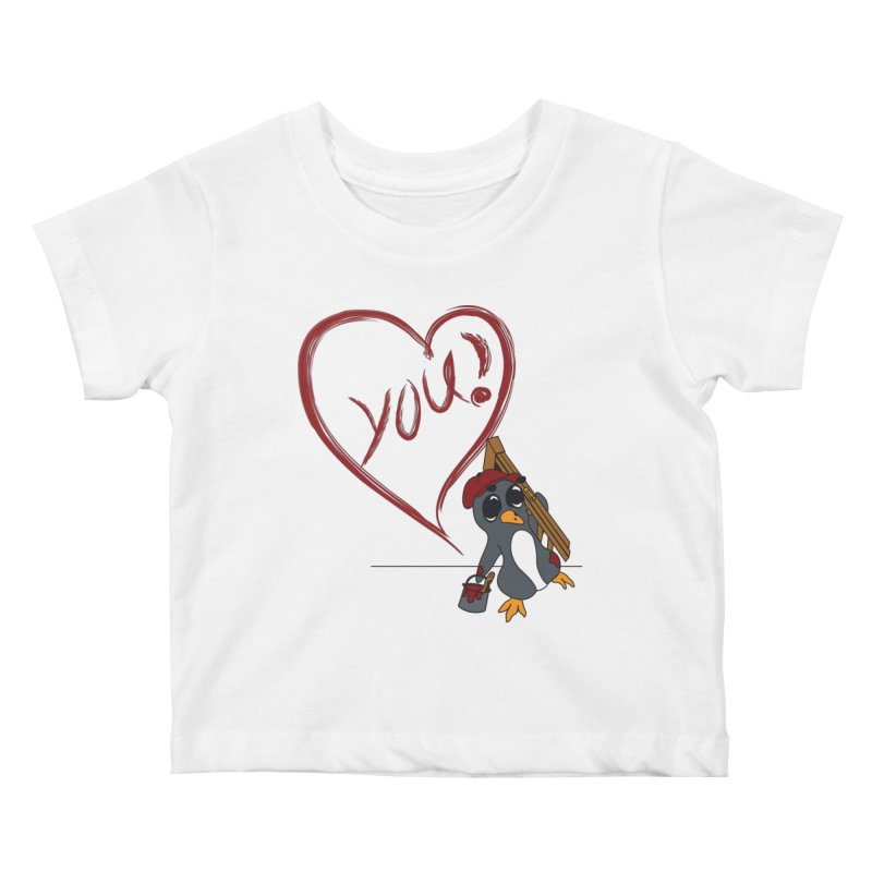 Penguin Painting Heart Kids Baby T-Shirt by bluetea1400's Artist Shop