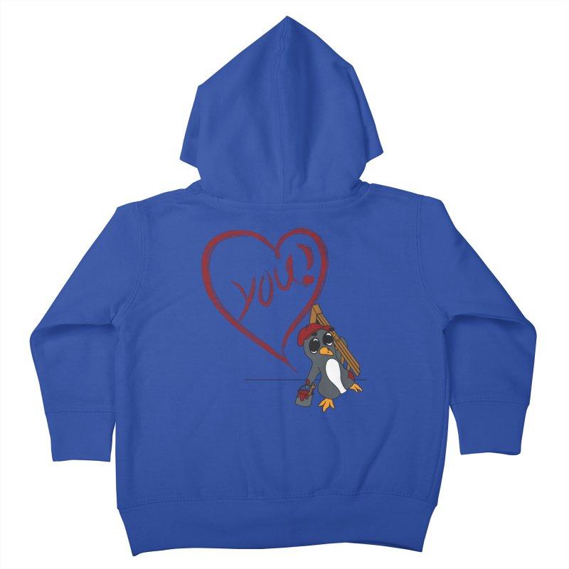 Penguin Painting Heart Kids Toddler Zip-Up Hoody by bluetea1400's Artist Shop