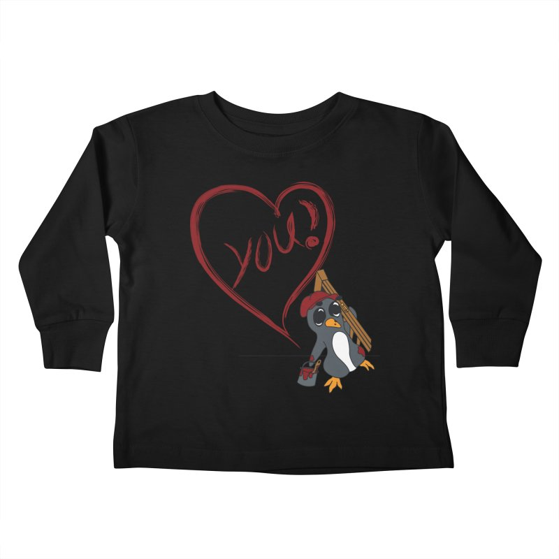 Penguin Painting Heart Kids Toddler Longsleeve T-Shirt by bluetea1400's Artist Shop