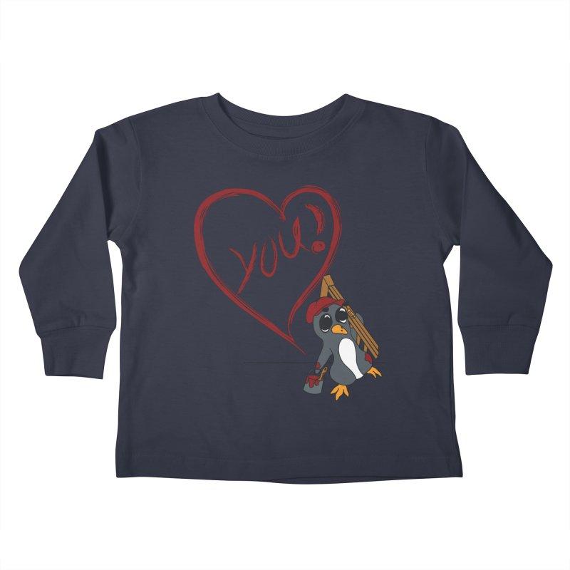 Penguin Painting Heart Kids Toddler Longsleeve T-Shirt by bluetea1400's Artist Shop