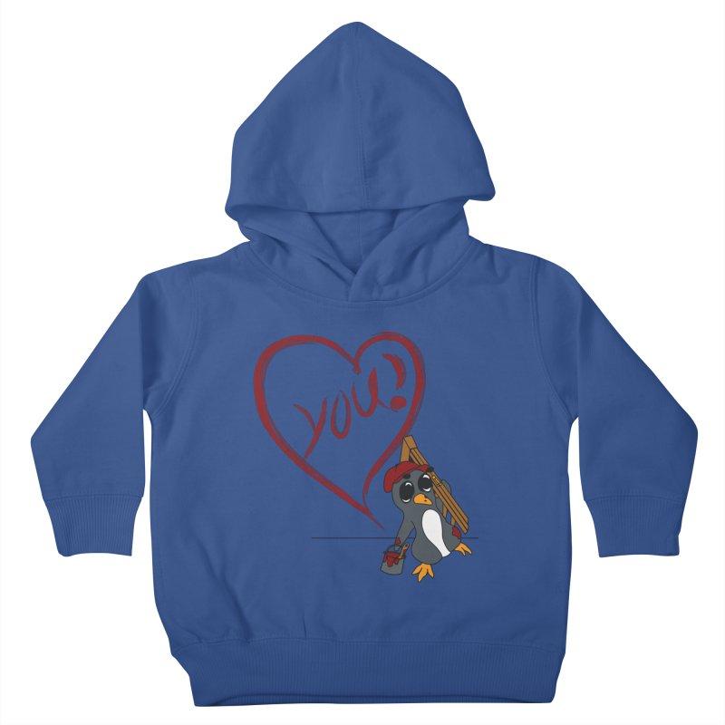 Penguin Painting Heart Kids Toddler Pullover Hoody by bluetea1400's Artist Shop