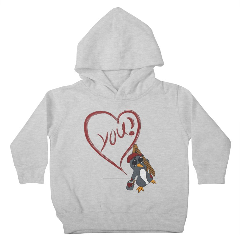 Penguin Painting Heart Kids Toddler Pullover Hoody by bluetea1400's Artist Shop