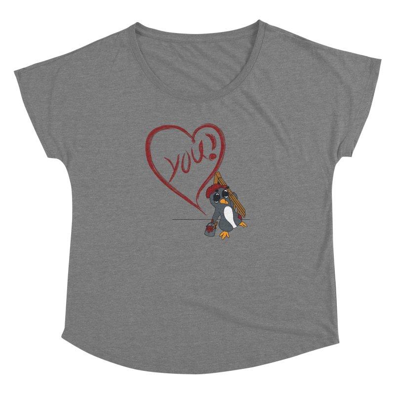 Penguin Painting Heart Women's Dolman Scoop Neck by bluetea1400's Artist Shop