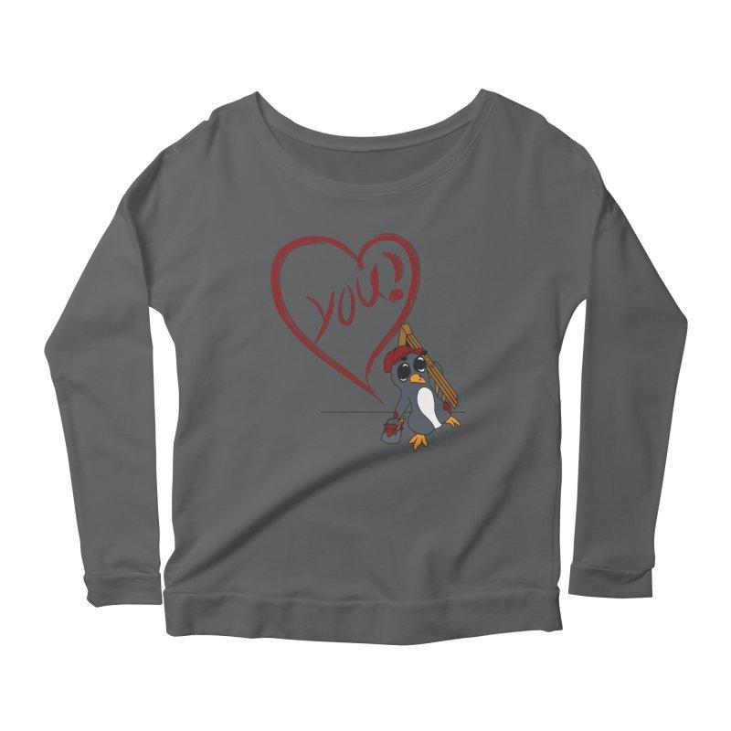Penguin Painting Heart Women's Scoop Neck Longsleeve T-Shirt by bluetea1400's Artist Shop