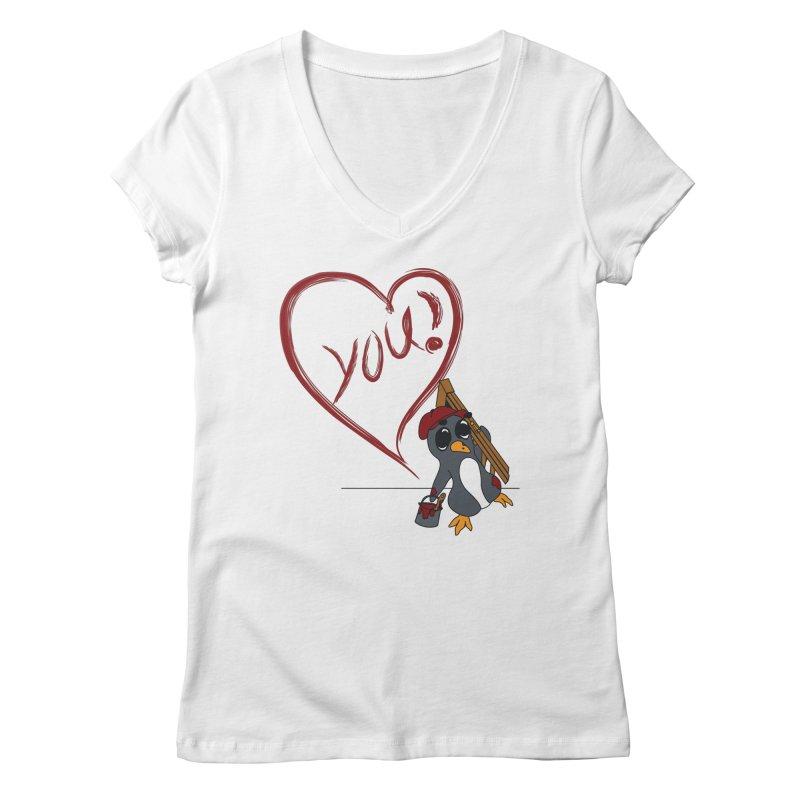 Penguin Painting Heart Women's Regular V-Neck by bluetea1400's Artist Shop