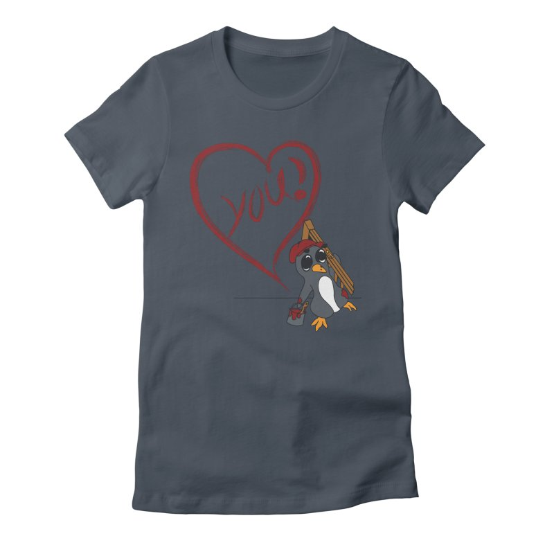Penguin Painting Heart Women's T-Shirt by bluetea1400's Artist Shop