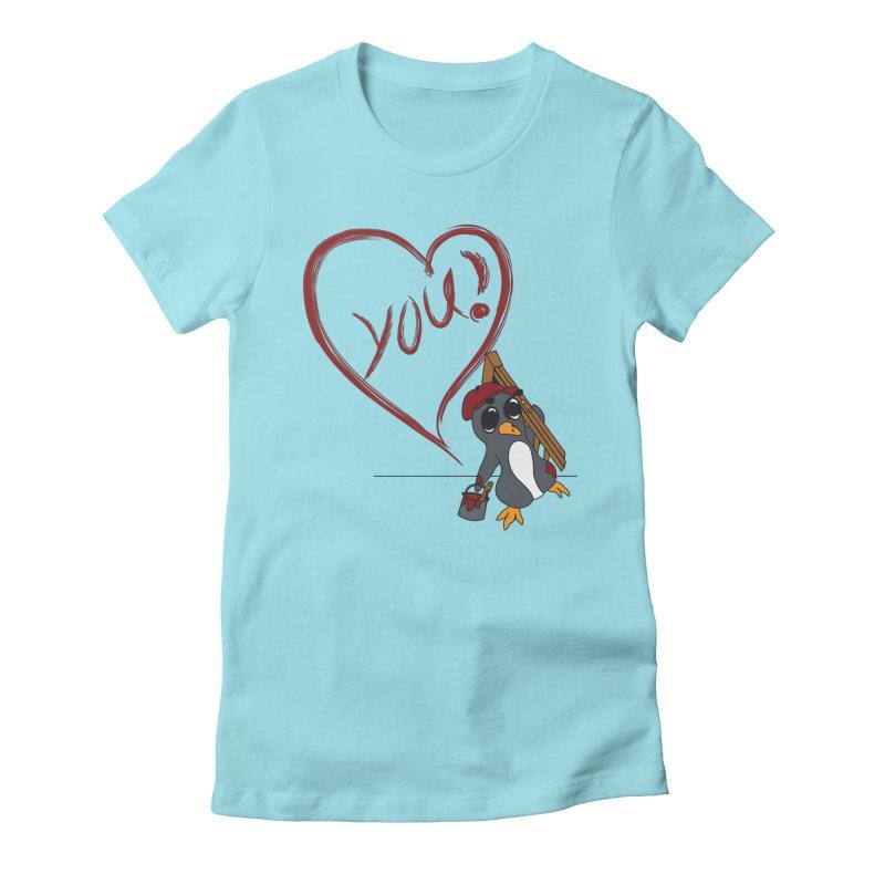 Penguin Painting Heart Women's Fitted T-Shirt by bluetea1400's Artist Shop