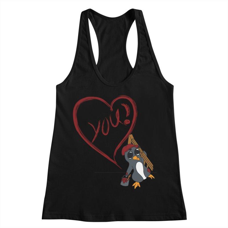 Penguin Painting Heart Women's Racerback Tank by bluetea1400's Artist Shop