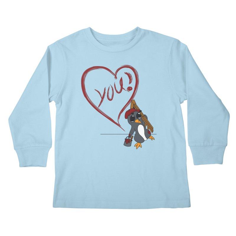 Penguin Painting Heart Kids Longsleeve T-Shirt by bluetea1400's Artist Shop