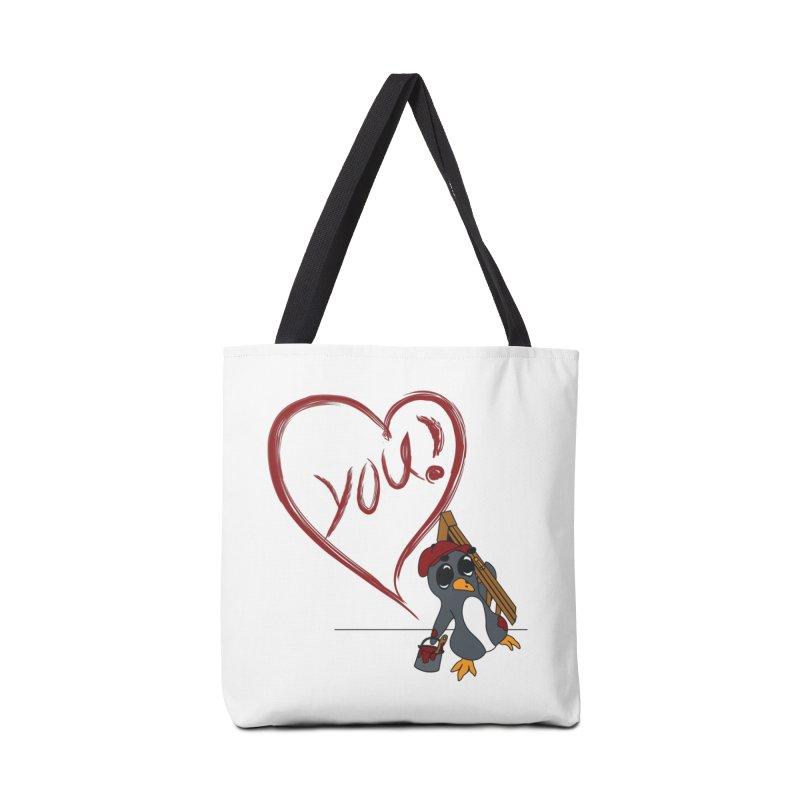 Penguin Painting Heart Accessories Bag by bluetea1400's Artist Shop