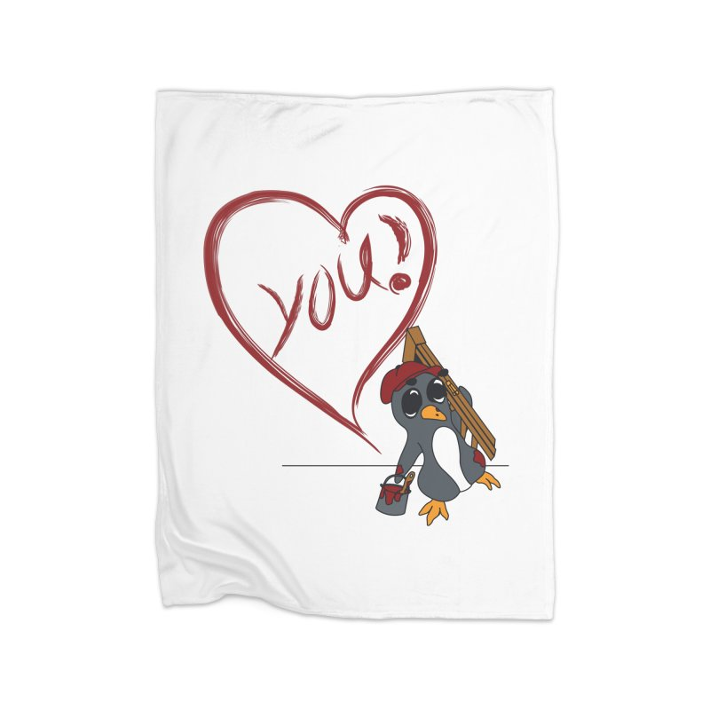 Penguin Painting Heart Home Fleece Blanket Blanket by bluetea1400's Artist Shop