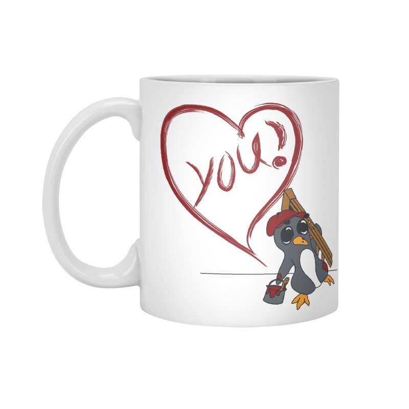Penguin Painting Heart Accessories Mug by bluetea1400's Artist Shop