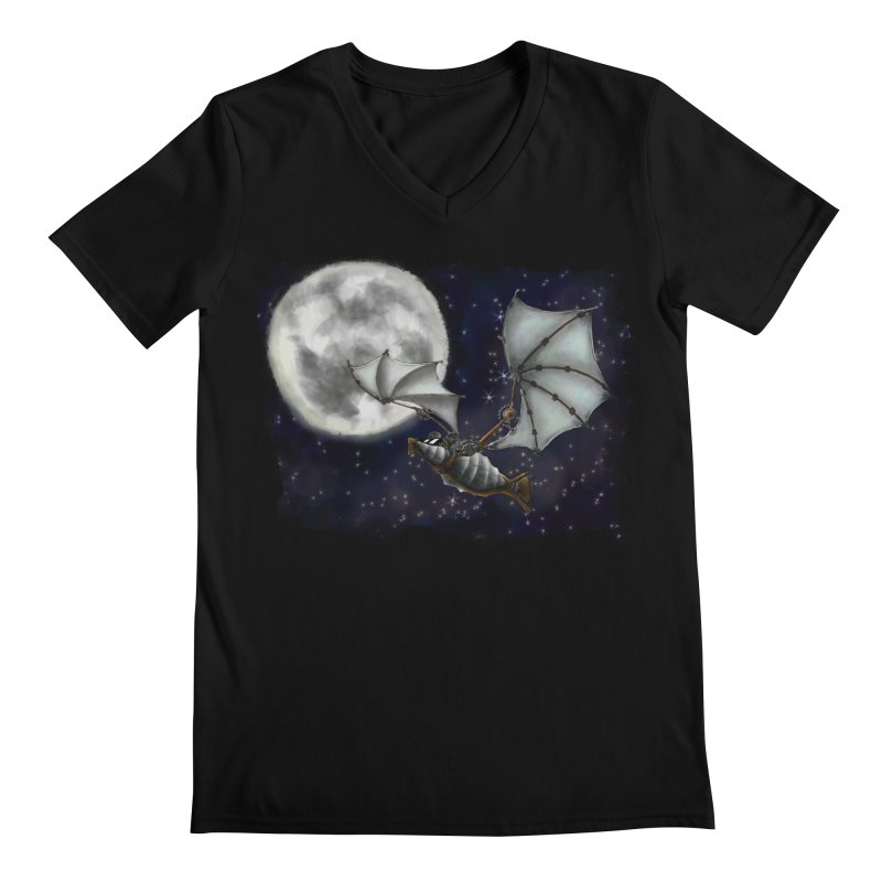 Mecha Bat Men's Regular V-Neck by bluetea1400's Artist Shop