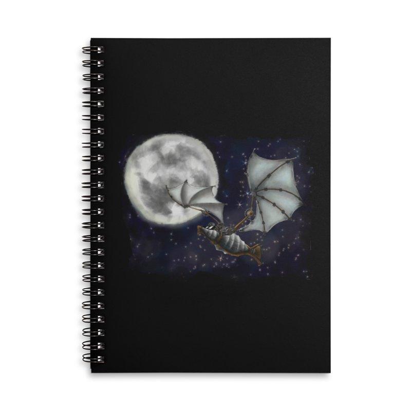 Mecha Bat Accessories Lined Spiral Notebook by bluetea1400's Artist Shop
