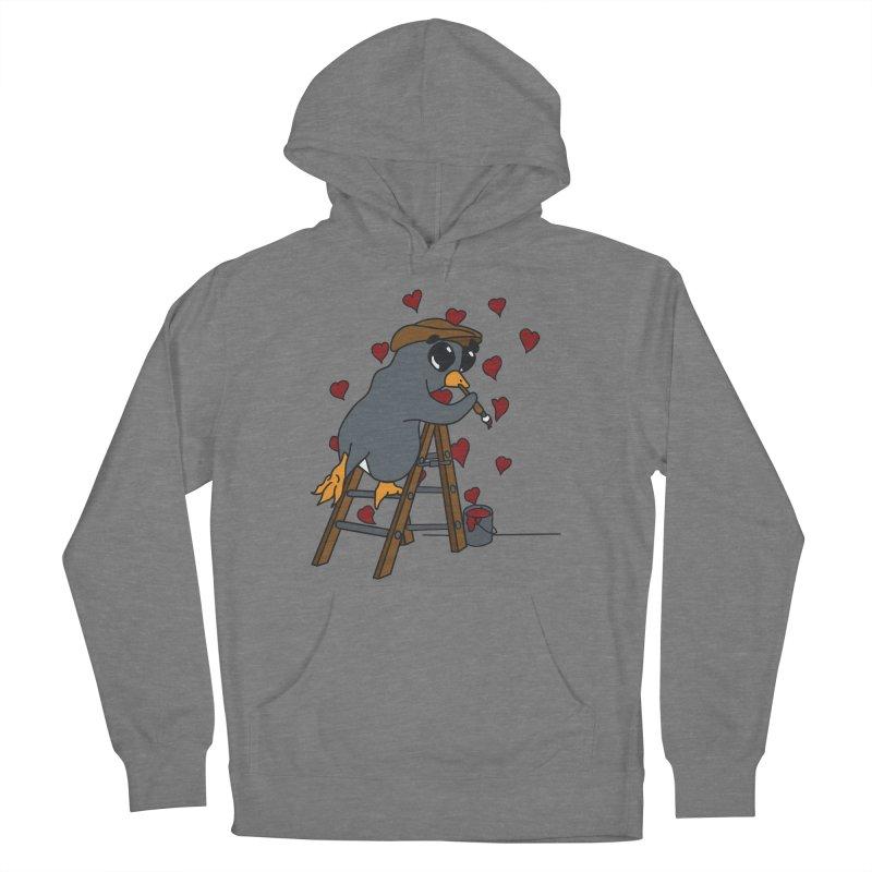 Penguin Painting Little Hearts Women's Pullover Hoody by bluetea1400's Artist Shop