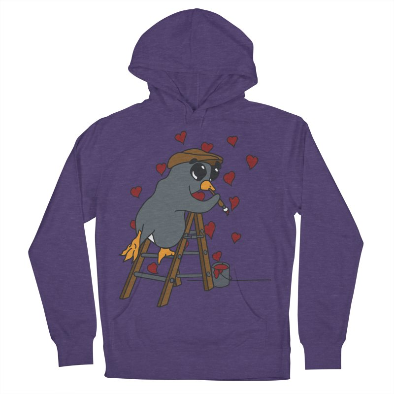 Penguin Painting Little Hearts Women's French Terry Pullover Hoody by bluetea1400's Artist Shop