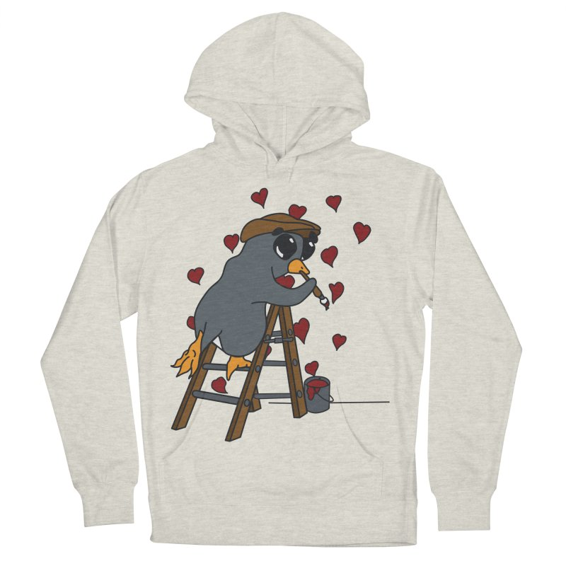 Penguin Painting Little Hearts Men's French Terry Pullover Hoody by bluetea1400's Artist Shop