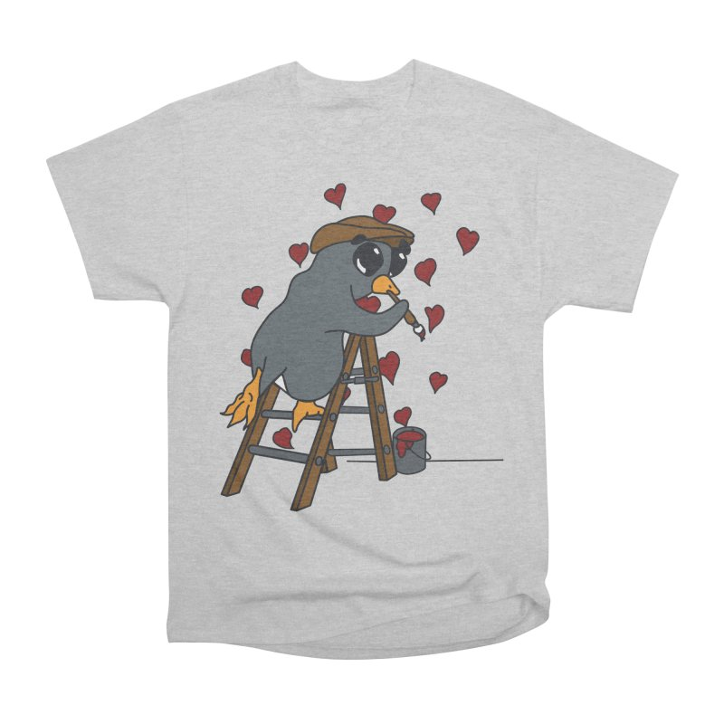 Penguin Painting Little Hearts Women's Heavyweight Unisex T-Shirt by bluetea1400's Artist Shop