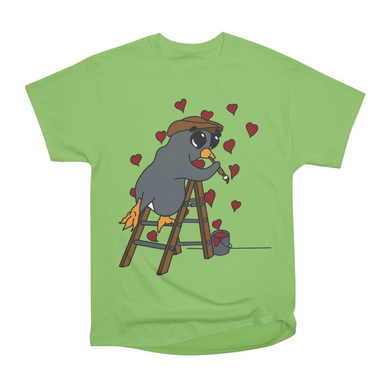 Penguin Painting Little Hearts Women's Heavyweight Unisex T-Shirt by bluetea1400's Artist Shop