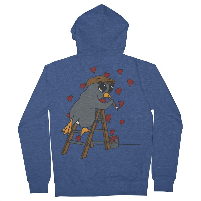Penguin Painting Little Hearts Women's French Terry Zip-Up Hoody by bluetea1400's Artist Shop