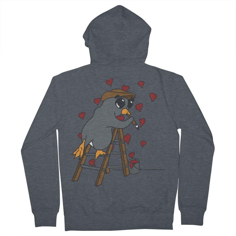 Penguin Painting Little Hearts Men's Zip-Up Hoody by bluetea1400's Artist Shop